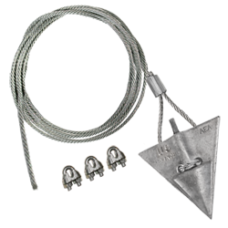 (10AL-72CC) 10-inch aluminum arrowhead with 72-inch cable and 3 cable clamps