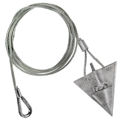 (10AL-72TH) 10-inch aluminum arrowhead with 72-inch cable and thimble loop