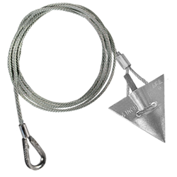 (4AL-48TH-Mil) MILITARY SPEC 4-inch aluminum arrowhead with 48-inch cable and thimble loop MIL-A-3962E