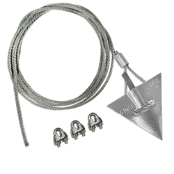 (4AL-60CC) 4-inch aluminum arrowhead with 60-inch cable and 3 cable clamps