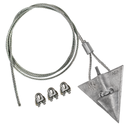 (8AL-60CC) 8-inch aluminum arrowhead with 60-inch cable and 3 cable clamps