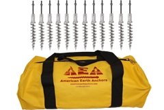 (PE14-STD-B12) 14-inch Penetrator anchor with square-drive flat head plus stud/nut/washer - Set of 12 with storage bag