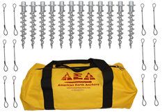 (PE10-TC-B12) 10-inch Penetrator anchor with hex head and tie-off cable-Set of 12 with storage bag