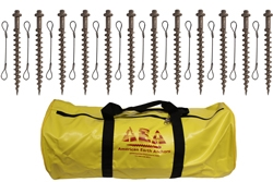 (PE18-TC-B12) 18-inch Penetrator anchor with hex head and tie-off cable-Set of 12 with storage bag