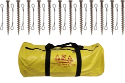 (PE18SQ-TC-B12) 18-inch Penetrator anchor with square-drive flat head and tie-off cable-Set of 12 with storage bag